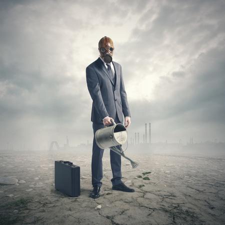 barren: environment concept: businessman watering a lone plant in a barren desert. Stock Photo