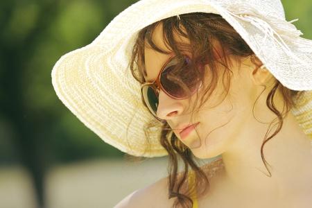 beauty shot: Beauty shot of a woman with sunglasses Stock Photo