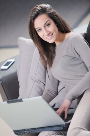 Smiling woman using her laptop in the living room. Stock Photo - 14179688