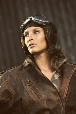 Portrait of young woman aviator Stock Photo - 15075593