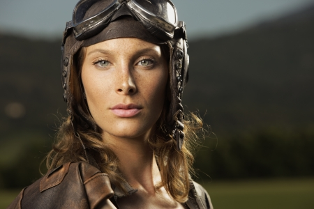 Portrait of young woman airplane pilot Stock Photo - 15045216