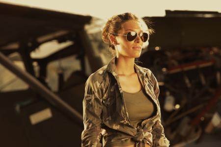 aviator: Airplane Pilot: fashion model with sunglasses
