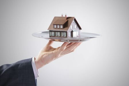 artificial model: Real estate offer. Businessman holding a silver tray with an artificial model of the house