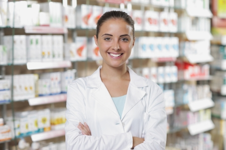 pharmacy store: Environmental Portrait of a medical personnel, or doctor in pharmacy