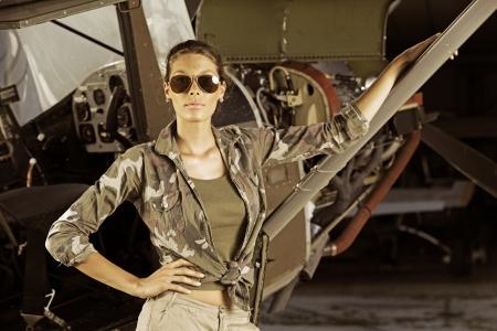 Airplane Pilot: fashion model with sunglasses Stock Photo - 15517698