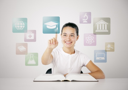 choose university: Young girl chooses his future career Stock Photo