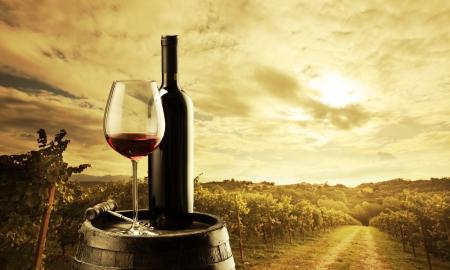 vi�edo: botella de vino tinto y copa de vino en barril wodden Foto de archivo