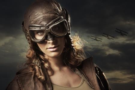 Hero woman airplane aviator photo