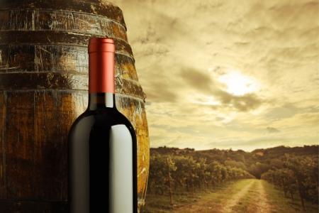 red wine bottle and wodden barrel, vineyard on background photo