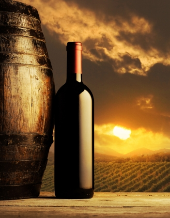 red wine bottle and wodden barrel, vineyard on background photo