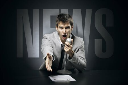 Anchorman screams and gestures news Stock Photo - 17053974
