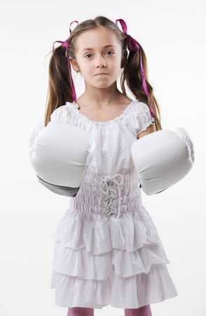 young beautiful girl ready to box photo