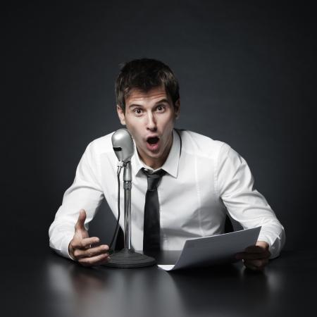 Anchorman screams news photo