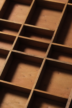 compartments: drawer wooden compartments empty