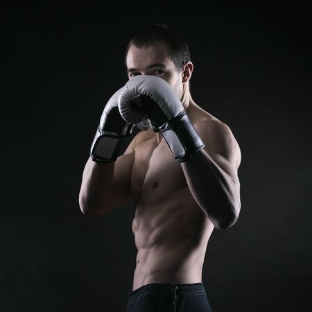 kickboxing: Boxing man ready to fight