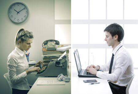 Business woman and business man working in office at desk