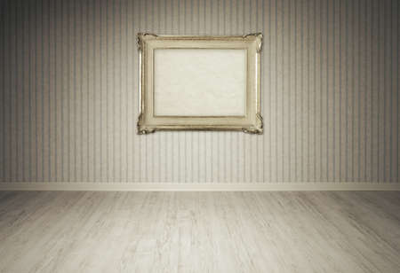 baroque wallpaper: Vintage picture frame on a empty room, copy space