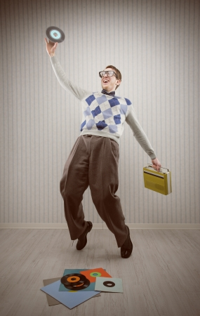Nerd student enjoys dancing alone Stock Photo - 18530503