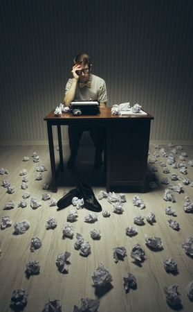 complications: Journalist looking for a good idea for her novel Stock Photo
