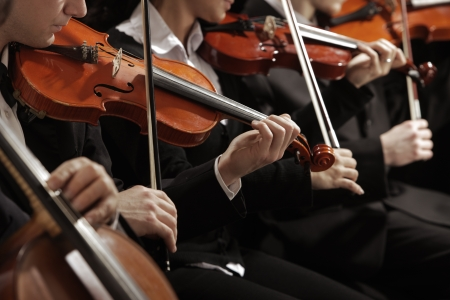 orchestra: Symphony music, violinist at concert, hand close up