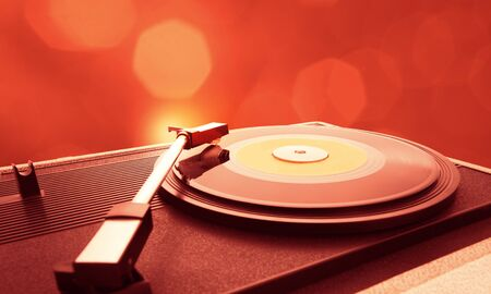 vinyl record: A vinyl record is spinning on the turntable Stock Photo
