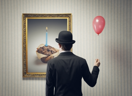 art gallery: Man Celebrating his birthday alone, conceptual image Stock Photo