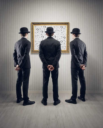 confused man: men looking question mark, conceptual photo Stock Photo