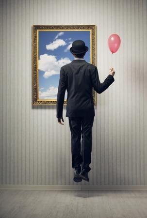 zero gravity: Sogno di un uomo d'affari, volare in alto