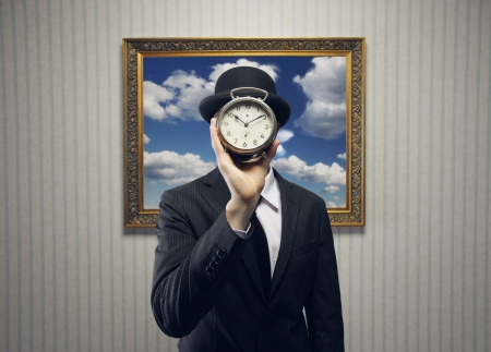 beat the clock: Businessman with a Clock for his Face