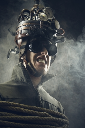 Man wearing a brain-control helmet, human brain-related experiments photo