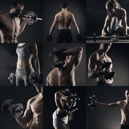 nude sport: Collage of different bodybuilders images Stock Photo