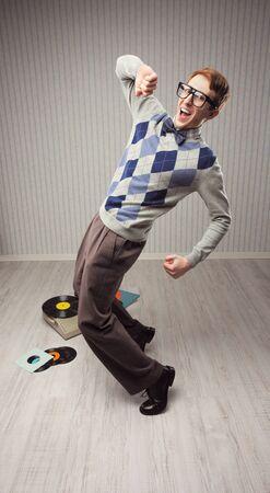 eccentric: Nerd student enjoys dancing alone