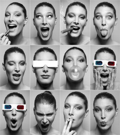 collage caras: Mujer hermosa múltiples expresiones sobre fondo gris.