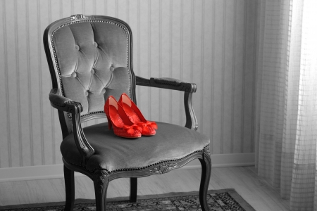 Women s shoes: Baroque chair and red womens shoes in an empty room Kho ảnh