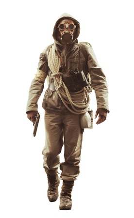 Post apocalyptic survivor in gas mask on white background