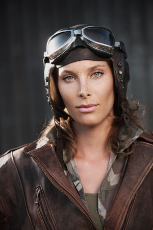 aviator: Portrait of young woman aviator Stock Photo