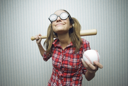 Nerdy woman love baseball, vintage portrait photo