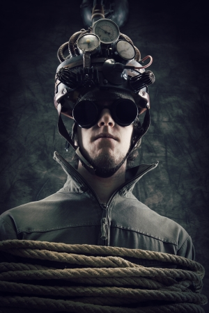 Man wearing a brain-control helmet, human brain-related experiments Stock Photo