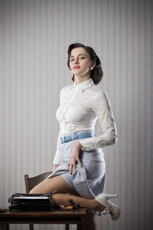Sexy business woman, retro pin up style photo