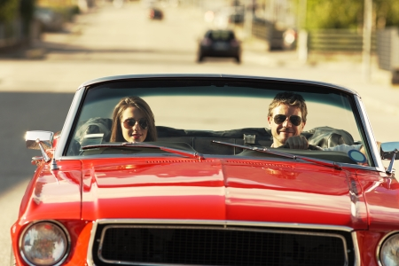 Beautiful couple during road trip on a sunny day Stock Photo - 21888709