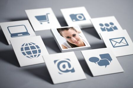 tecnology: Portrait of smiling girl with tecnology icons Stock Photo