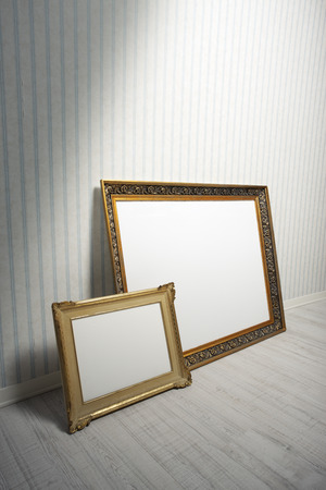 baroque room: Two Baroque frames in a empty room