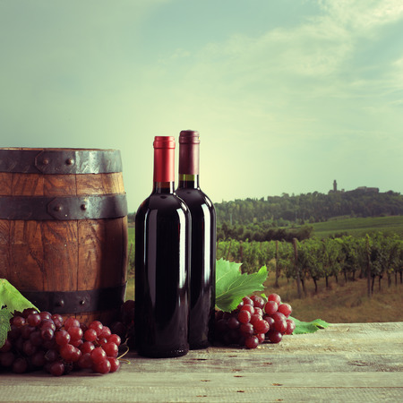 Red wine bottles with barrel and grapes, vineyard on vintage look photo