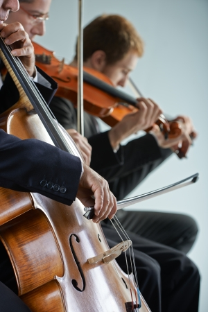 Cellist and violinist playing at the concert photo