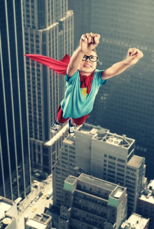 crime fighter: A little superhero ready to save the world Stock Photo