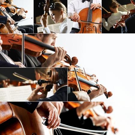 musica clasica: Collage de la m�sica cl�sica, violinista y violonchelista Foto de archivo