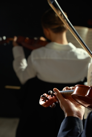 Violinists playing at the concert, rear view photo