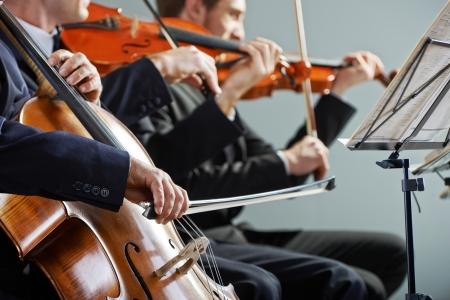 orquesta clasica: Violonchelista y violinista tocando en el concierto Foto de archivo