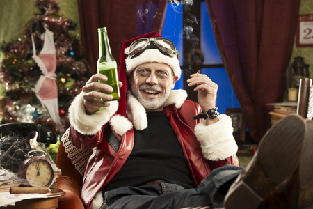 A Cheerful Bad Santa celebrating Christmas with beer and smoking cigarette