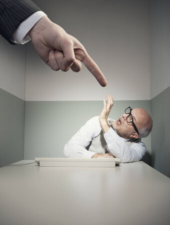 small room: Huge theratening finger pointing at scared helpless employee.